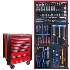 Servante d'atelier BUMPER rouge + 161 outils plateaux EVAWAVE - 934161MRER - King Tony