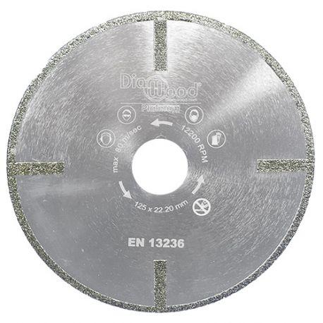 Disque diamant pro SUB-ZERO D. 125 x Al. 22,23 x Ht. 5 mm - verre, marbre, fibre de verre - Diamwood Platinum