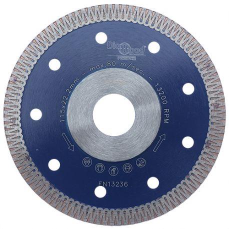 Disque diamant pro SCORPION D. 115 x Al. 22,23 x Ht. 8,5 x ép. 1,3 mm - grès cérame, granite, marbre - Diamwood Platinum