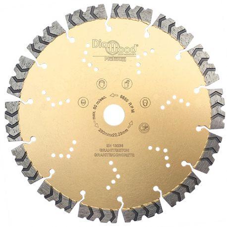 Disque diamant pro PREDATOR D. 230 x Al. 22,23 x Ht. 15 mm - béton armé, granite, acier - Diamwood Platinum