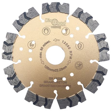 Disque diamant pro PREDATOR D. 125 x Al. 22,23 x Ht. 12 mm - béton armé, granite, acier - fixtout Platinum