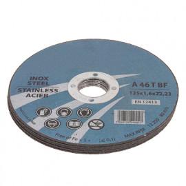 Disque à tronçonner fin inox D. 125 x Al. 22,23 x ép. 1,6 mm - fixtout