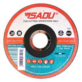 Disque à tronçonner MP AT 46 D. 115 x 1,6 x 22,23 mm - Acier inoxydable / Métal - 010341B - Sadu