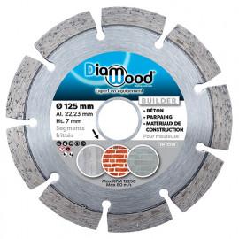 Disque diamant BUILDER D. 125 x Al. 22,23 x Ht. 7 mm - béton, matériaux de construction - fixtout