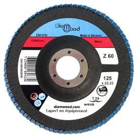 Disque/plateau bombé à lamelles zirconium D. 125 x 22,23 mm Gr 60 pour INOX, ACIER - fixtout