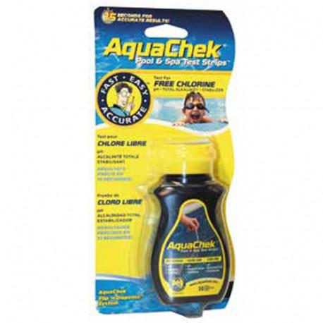 50 bandelettes de test Chl + PH + alca - Jaune - 46490 - AquaCheck