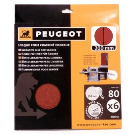 6 disques abrasifs auto-agrippants D. 200 mm - Grain 80 pour ENERGYSAND 200ASP - 806312 - Peugeot