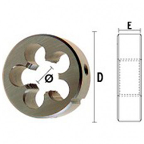 1 filière HSS DIN22568 M42,00 x 2,00 x D. ext 75 x Lu. 20 mm - 25010422075 - Hepyc