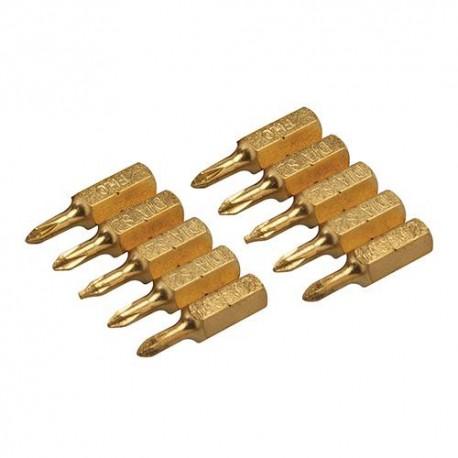 10 embouts de vissage L.25 mm Phillips PH0, titane ( TiN) - 123465 - Silverline