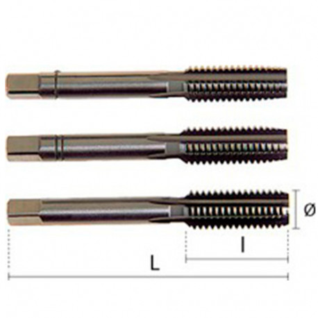 1 jeu de 3 tarauds - 3 passes - HSS DIN352 LH M24,00 x 3,00 x Lt. 110 x Lu. 50 mm x Q. Carrée - 23015024030 - Hepyc