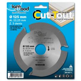 Disque à sculpter HM CUT-TOUT D. 125 x Al. 22,23 x ép. 2.8/2.2 mm x Z3 pour bois, plâtre, PVC - fixtout