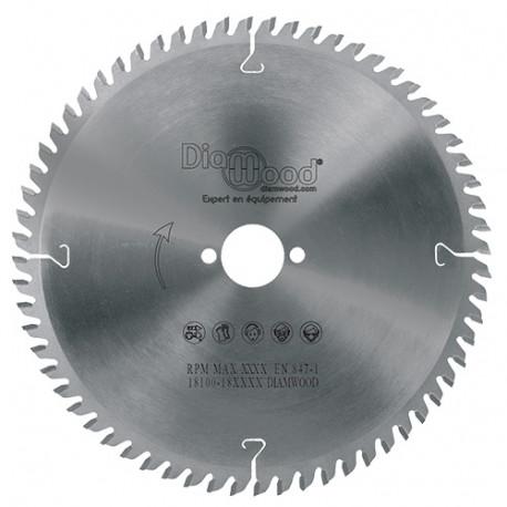 Lame de scie circulaire HM finition D. 216 x Al. 30 x ép. 2,8/2,0 mm x Z60 TP Neg pour Alu/bois - fixtout