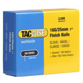 Boîte de 2500 clous de finition de type 16G L. 25 mm - TA-0666 - Tacwise