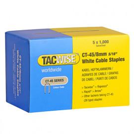 Boîte de 5000 agrafes pour câble type CT45 L. 8 mm blanches - TA-0980 - Tacwise