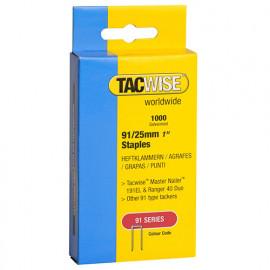 Boîte de 1000 agrafes à couronne étroite type 91 L. 25 mm - TA-0285 - Tacwise