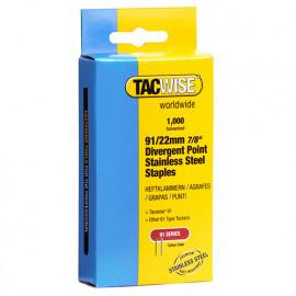 Boîte de 1000 agrafes pointes divergentes en acier inoxydable à couronne étroite type 91 L.22 mm - TA-1070 - Tacwise