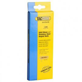 Boîte de 1000 clous à tête plate en acier inoxydable en bandes inclinées 26° D. 1,5 x 20 mm - TA-1131 - Tacwise