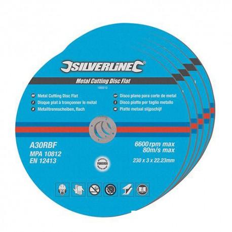 5 disques plats à tronçonner le métal 230 x 3 x 22,2 mm - 186810 - Silverline