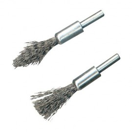 2 brosses-pinceaux à fils d'acier à décalaminer sur tige de 6 mm - 190316 - Silverline