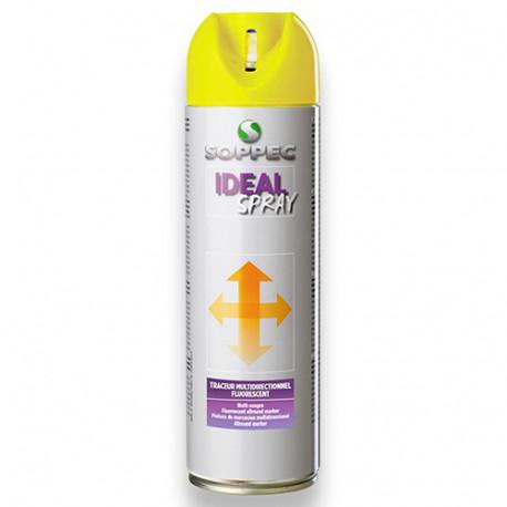 Traceur de chantier fluorescent multidirectionnel IDEAL SPRAY 500 ml de couleur Rouge - 141813 - Soppec