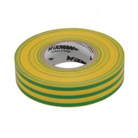 Ruban isolant 19 mm x 33 M, Vert/jaune - 192227 - Fixman