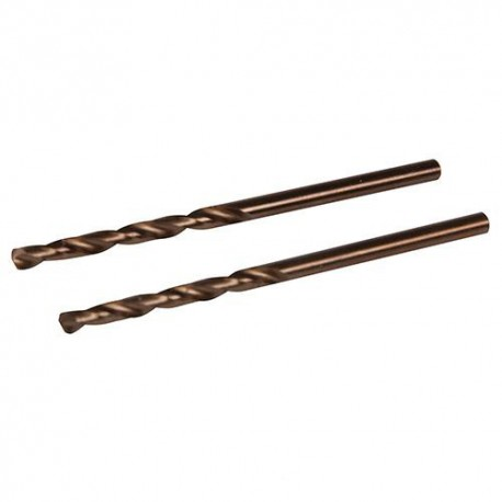 2 forêts métaux D.4 mm en acier rapide HSS-Co (alliage cobalt) - 196502 - Silverline