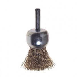Brosse forme pinceau à fil acier ondulé sur tige D. 16 mm Q. 6 mm - 477.00 - PG Professional