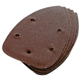 10 feuilles abrasives perforées 5 trous auto-agrippantes triangulaires 140 mm Grain 240 - 196588 - Silverline