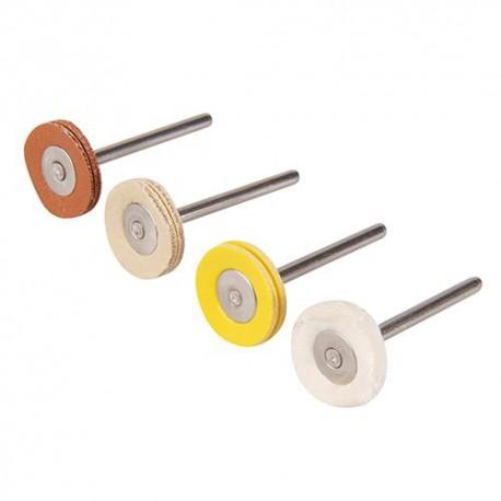 4 roues de polissage D. 20 mm sur tige 3,17 mm pour outil multifonction - 196590 - Silverline