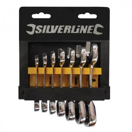 7 clés à cliquet compactes de 8, 10, 11, 13, 14, 17 et 19 mm - 199916 - Silverline