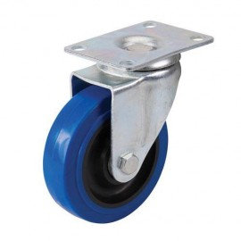 Roulette pivotante en caouthcouc avec frein D. 100 mm 140 kg bleue - 200742 - Fixman