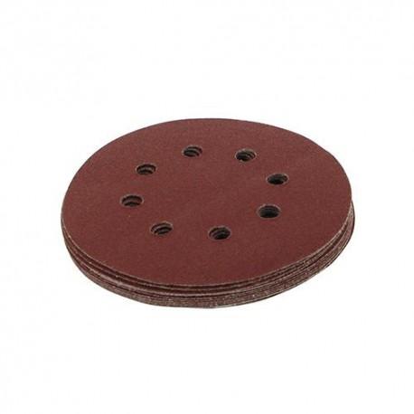 10 disques abrasifs perforés 8 trous auto-agrippants D. 125 mm Grain 240 - 206505 - Silverline