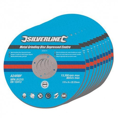 10 disques à meuler le métal à moyeu déporté 115 x 6 x 22.23 mm - 224514 - Silverline