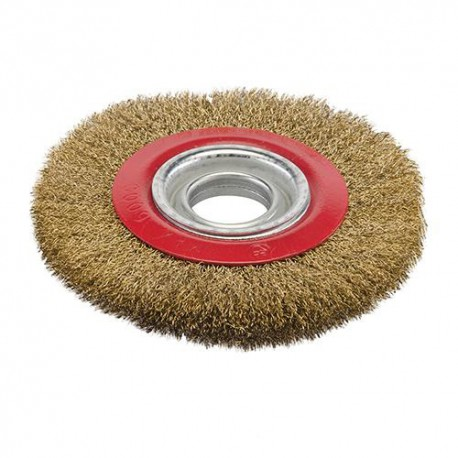 Brosse circulaire à fils d'acier laitonnés D. 150 mm - 224516 - Silverline