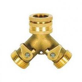 "Nez de robinet laiton fil. 3/4"" avec 2 sorties fil. M 3/4""+ robinet arrêt - PRA/RLB.4202 - Ribiland"