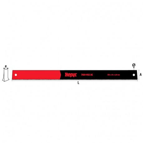 1 lame de scie à metaux HSS DC Ht. 25 x Lt. 300 x Lu. 1,5 mm x 14 TPI - 74013025156 - Hepyc