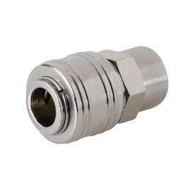 """Coupleur rapide Euro L. 43 mm filetage femelle 1/4"""" BSP pour tuyau air comprimé - 238184 - Silverline"""