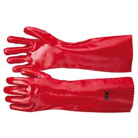 Gants enduit PVC 450 mm - Rouge - OXS246845 - OX