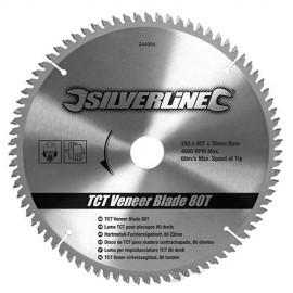Lame de scie circulaire carbure D. 250 x 30 mm x Z : 80 pour panneaux bois - 244964 - Silverline