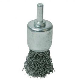 Brosse-pinceau à fils d'acier ondulés D. 24 mm sur tige - 244984 - Silverline