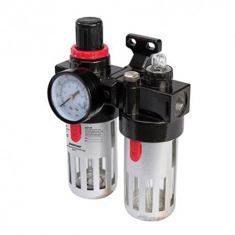Filtre régulateur lubrificateur réglable de 0,5 à 8,5 bar avec réservoir 150 ml pour air comprimé - 245014 - Silverline