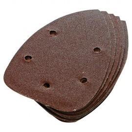 10 feuilles abrasives perforées 5 trous auto-agrippantes triangulaires 140 mm Grain 60 - 245094 - Silverline