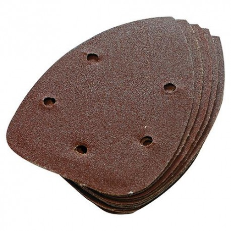 10 feuilles abrasives perforées 5 trous auto-agrippantes triangulaires 140 mm Grain 60 - 245094 - Silverline