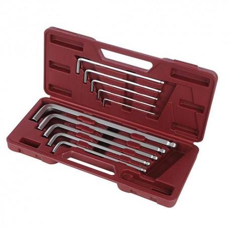 Coffret de 10 clés 6 pans à tête sphérique de 3, 4, 5, 6, 7, 8, 10, 12, 14 et 17 mm - 250035 - Silverline
