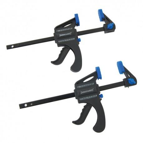 2 serre-joint à serrage rapide saillie de 34 x 100 mm - 250108 - Silverline