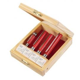 Coffret de 4 mèches de défonceuse, 3 mèches droites + 1 affleureuse/ roulement Q12 et 8 mm - 250589 - Silverline