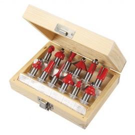 Coffret de 12 fraises à défoncer TCT Queue de 12 mm - 251591 - Silverline