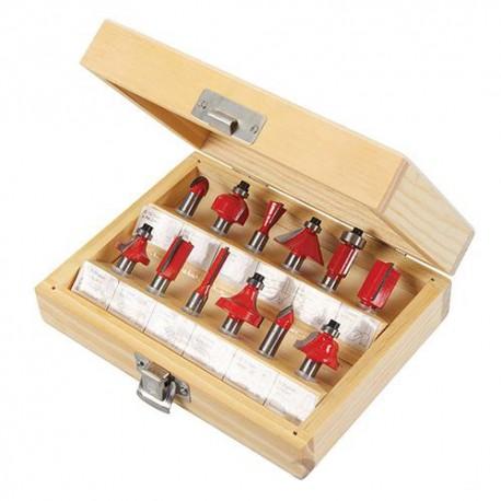 Coffret de 12 fraises à défoncer TCT Queue de 8 mm - 251678 - Silverline