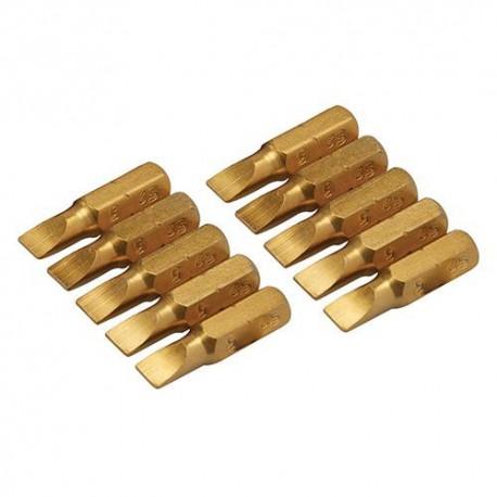 10 embouts de vissage L.25 mm Plat 5 mm, titane ( TiN) - 260327 - Silverline
