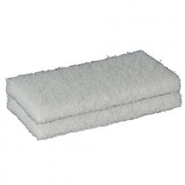 2 tampons abrasifs fibre blancs 250 x 120 x 25 mm pour platoir - 11200194 - Sidamo